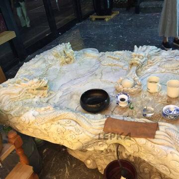 Стол чайных церемоний мрамор травертин