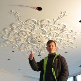Гипсовая розетка потолок под заказ фото